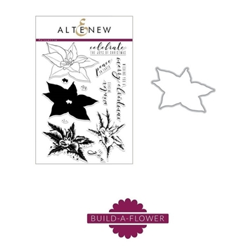 Altenew BUILD A FLOWER POINSETTIA Clear Stamp and Die Set ALT5228