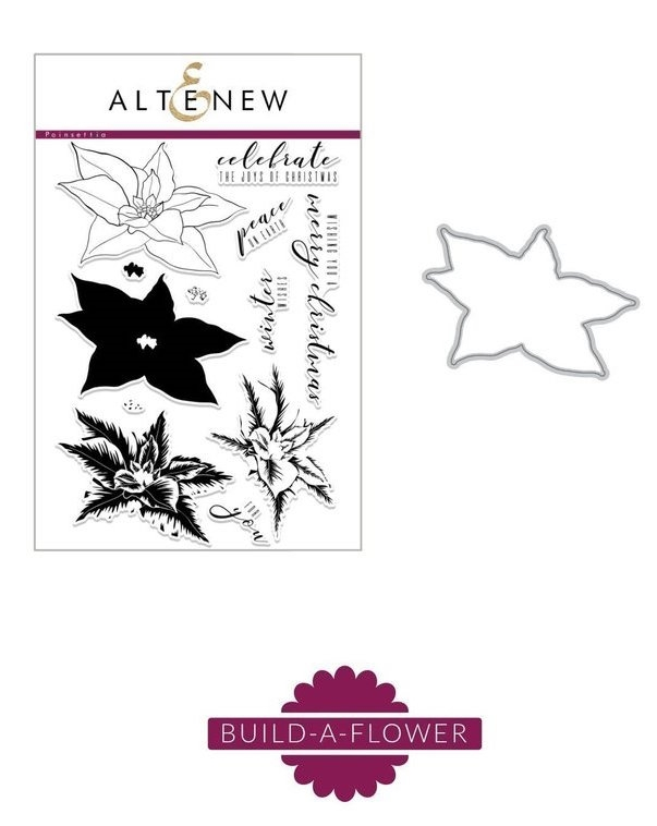 Altenew BUILD A FLOWER POINSETTIA Clear Stamp and Die Set ALT5228  zoom image