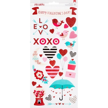 American Crafts VALENTINE Remarks Clear Stickers 374630