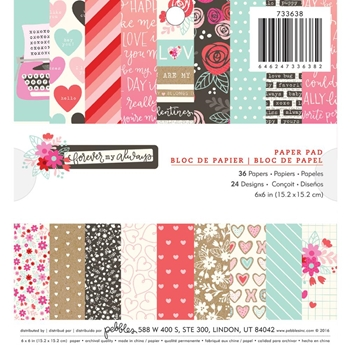 Pebbles Inc. FOREVER MY ALWAYS 6x6 Inch Paper Pad 733638