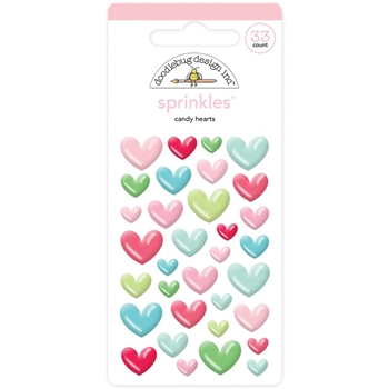 Doodlebug CANDY HEARTS Milk and Cookies Sprinkles Adhesive Glossy Enamel Shapes 5752