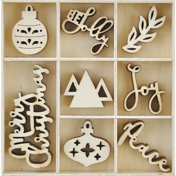 Kaisercraft JOLLY CHRISTMAS Wooden Flourish Pack FL610