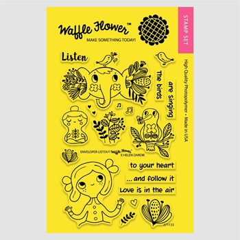Waffle Flower ENVELOPER LISTEN Clear Stamp Set 271133