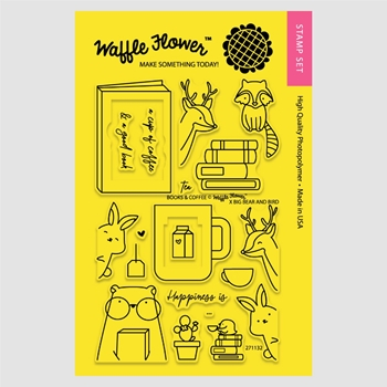 Waffle Flower BOOKS AND COFFEE Clear Stamp Set 271132