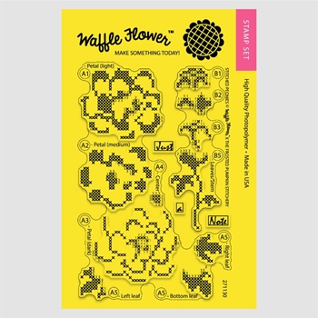 Waffle Flower STITCHED PEONIES Clear Stamp Set 271130