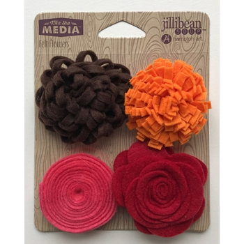 Jillibean Soup SHADES OF RED Felt Flowers jb1430