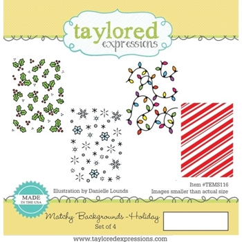 Taylored Expressions MATCHY BACKGROUNDS HOLIDAY Cling Stamp Set TEMS116