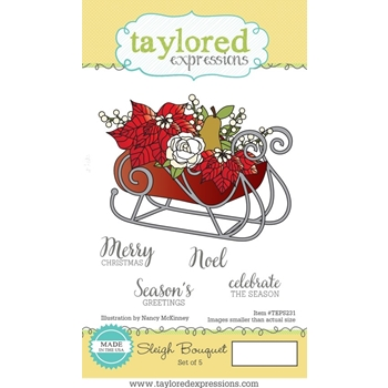 Taylored Expressions SLEIGH BOUQUET Cling Stamp Set TEPS231