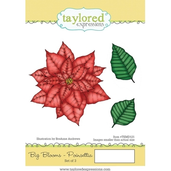 Taylored Expressions BIG BLOOMS POINSETTIA Cling Stamp Set TEMD121