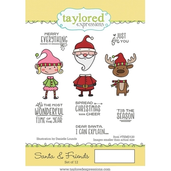 Taylored Expressions SANTA AND FRIENDS Cling Stamp Set TEMD120