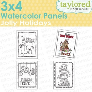 Taylored Expressions JOLLY HOLIDAYS Watercoloring Panels TEWP07