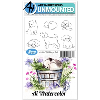 Art Impressions DOGS Cling Watercolor Rubber Stamps 4959