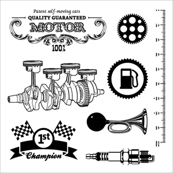 ScrapBerry's AUTO VINTAGE MOTOR Clear Stamps 4904018B