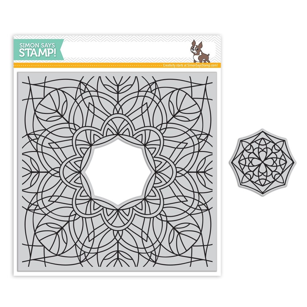Simon Says Cling Rubber Stamp CENTER CUT KALEIDOSCOPE Background SSS101766 Making Spirits Bright zoom image