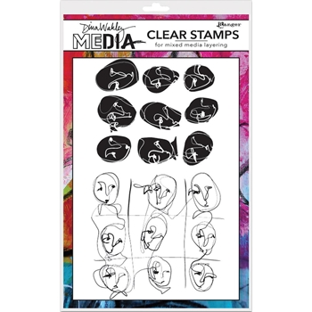 Dina Wakley FUNKY FACES Clear Stamp Set MDC58373