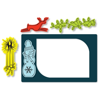 Sizzix Framelits PHOTO FRAME SEASONAL BORDERS Combo Die and Stamp Set 662177