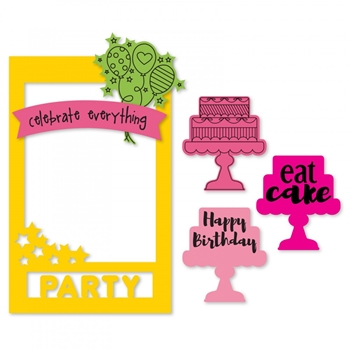 Sizzix Framelits PHOTO FRAME CELEBRATE Combo Die and Stamp Set 662174