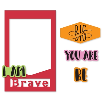 Sizzix Framelits PHOTO FRAME I AM PHRASES Combo Die and Stamp Set 662173