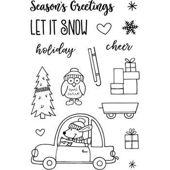 Jane's Doodles DRIVING HOME FOR CHRISTMAS Clear Stamp Set 743214