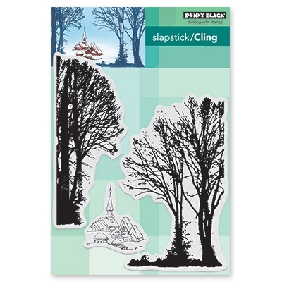 Penny Black Cling Stamp SNOWY VILLAGE 40-558