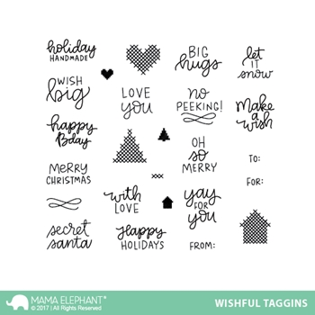 Mama Elephant Clear Stamps WISHFUL TAGGINS