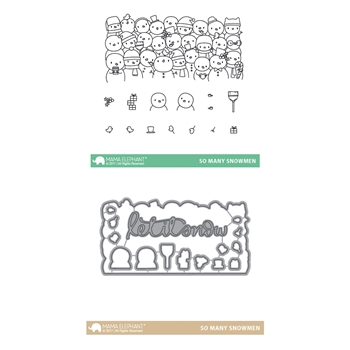 Mama Elephant Clear Stamp and Die MEPT427 So Many Snowmen SET
