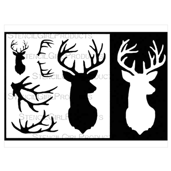StencilGirl SMALL DEER ANTLERS AND MASK 6x6 Stencil S513