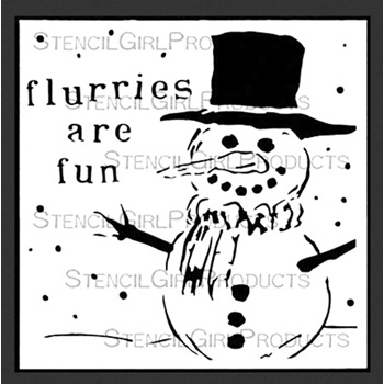 StencilGirl FLURRIES ARE FUN 6x6 Stencil S542
