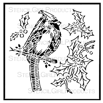 StencilGirl CHRISTMAS CARDINAL AND HOLLY 6x6 Stencil S514
