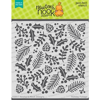 Newton's Nook Designs HOLIDAY FOLIAGE Stencil NN1710T02