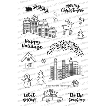 Newton's Nook Designs SNOW GLOBE SCENES Clear Stamp Set NN1710S05