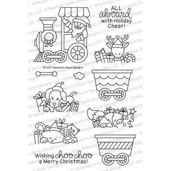 Newton's Nook Designs ALL ABOARD FOR CHRISTMAS Clear Stamp Set NN1710S02