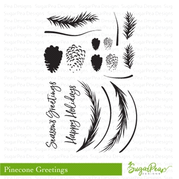 SugarPea Designs PINECONE GREETINGS Clear Stamp Set SPD-00253