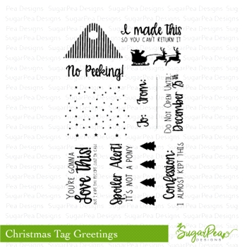 SugarPea Designs CHRISTMAS TAG GREETINGS Clear Stamp Set SPD-00257
