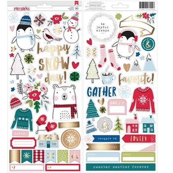 American Crafts CARDSTOCK STICKERS Sweater Weather 343454