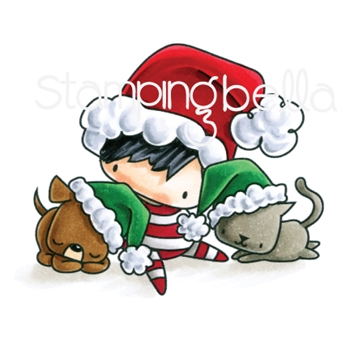 Stamping Bella Cling Stamp THE LITTLES CHRISTMAS BOY WITH PETS Rubber UM EB594