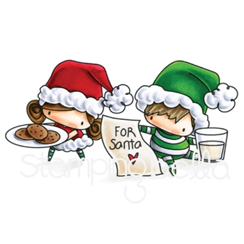 Stamping Bella Cling Stamp THE LITTLES WAITING FOR SANTA Rubber UM EB593