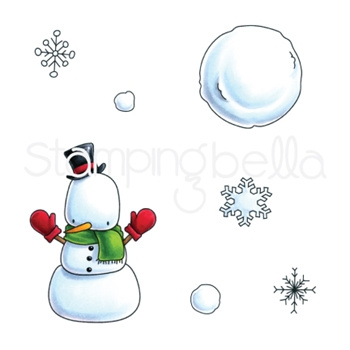 Stamping Bella Cling Stamp LITTLE BITS SNOWMAN SET Rubber UM EB571