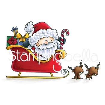 Stamping Bella Cling Stamp THE LITTLES SANTA AND HIS REINDEER Rubber UM EB563