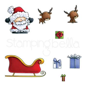 Stamping Bella Cling Stamp LITTLE BITS SANTAS GIFTS Rubber UM EB566
