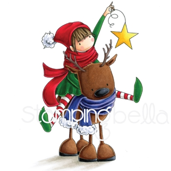 Stamping Bella Cling Stamp TINY TOWNIE RITA THE REINDEER Rubber UM EB604