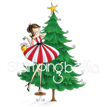 Stamping Bella Cling Stamp UPTOWN GIRL TINA TRIMS THE TREE Rubber UM EB582