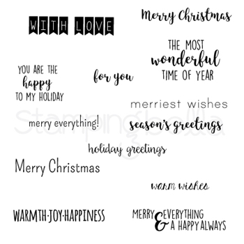 Stamping Bella Cling Stamp WINTER HOLIDAY SENTIMENTS Rubber UM EB576