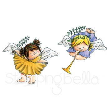 Stamping Bella Cling Stamp ANGEL SQUIDGIES CURTSY AND TRUMPET Rubber UM EB592