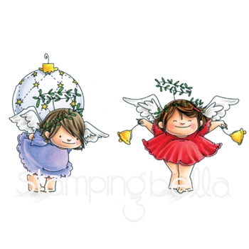 Stamping Bella Cling Stamp ANGEL SQUIDGIES ORNAMENT AND BELLS Rubber UM EB591