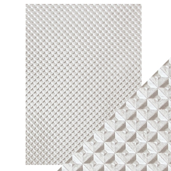 Tonic SILVER CHEQUER Hand Crafted Embossed Cotton A4 Paper Pack 9814e