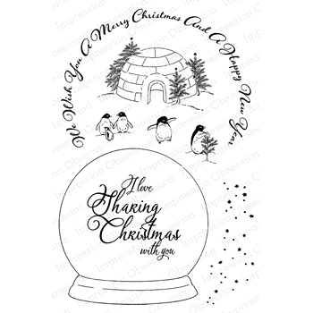Impression Obsession Clear Stamp FAMILY SNOW GLOBE CL817