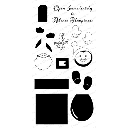 Impression Obsession Clear Stamp PENGUIN GIFT BOX WP818 Preview Image