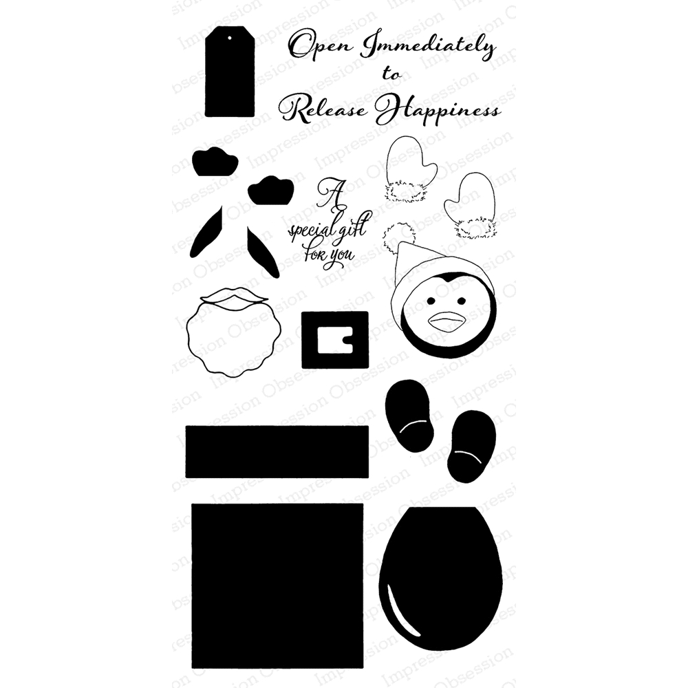 Impression Obsession Clear Stamp PENGUIN GIFT BOX WP818 zoom image