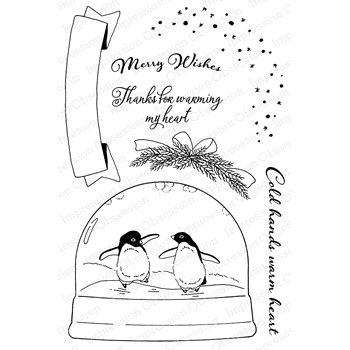 Impression Obsession Clear Stamp PENGUINS SKATING CL819